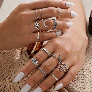 3/$30 14pc Silver Boho Skinny Ring Set